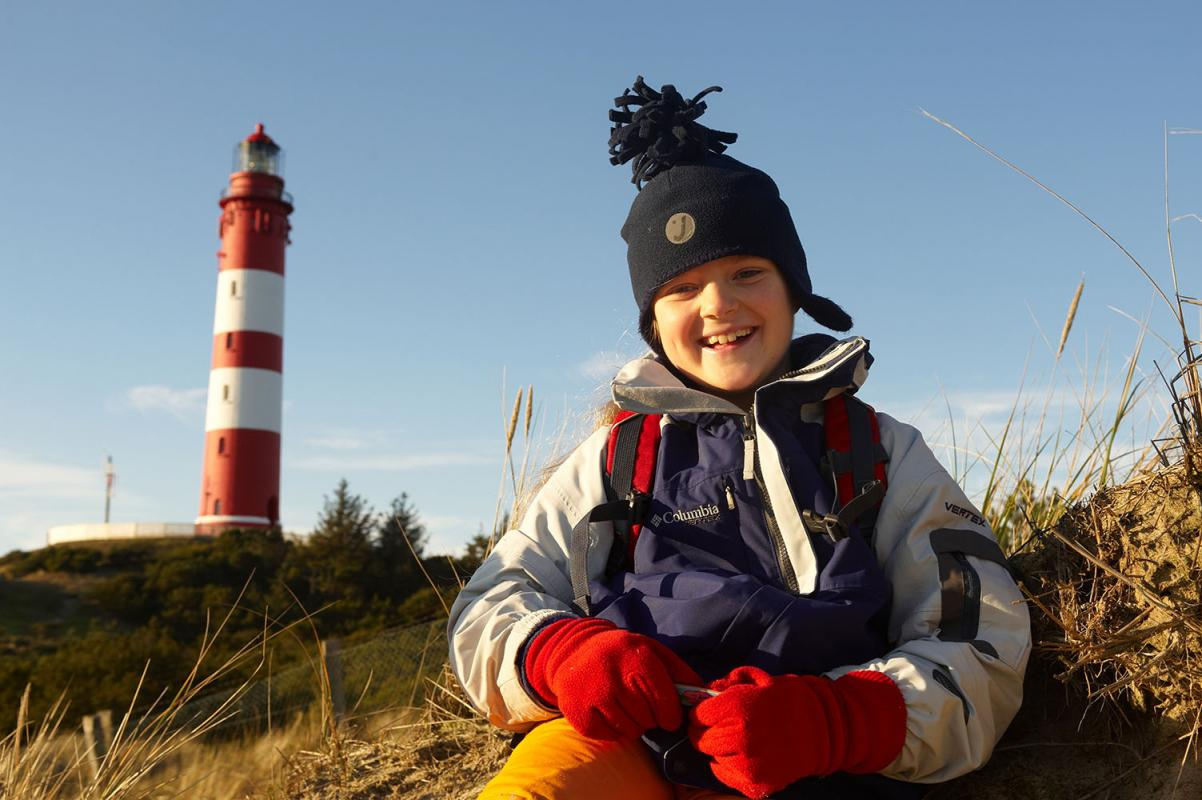 Leuchtturm (von 1875, mit Düne 63 Meter hoch), bei Sueddorf, Insel Amrum, Schleswig-Holstein, Winter 08/09, WebungPR