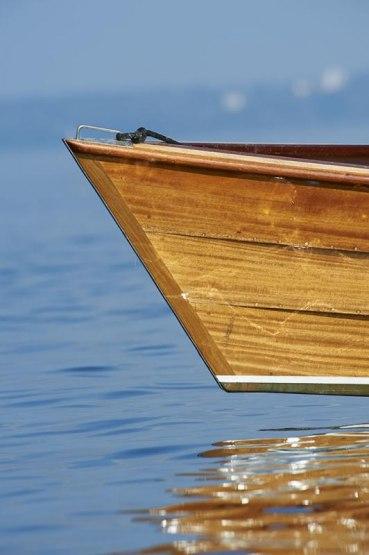Traditionelles Chiemseeboot Plaette, Chiemsee, Bayern, Deutschland
