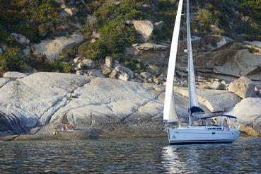 "Segelyacht ""Pretty Woman"", Charteryacht von Sun Charter, Golf von Fetovaia, Bucht Barbatoia, Insel Elba, Toskanischer Inselarchipel, Toskana, Italien"