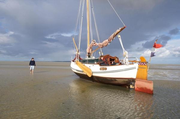 Plattbodenschiff, bei Vlieland, Wattenmeer, Friesland, Holland