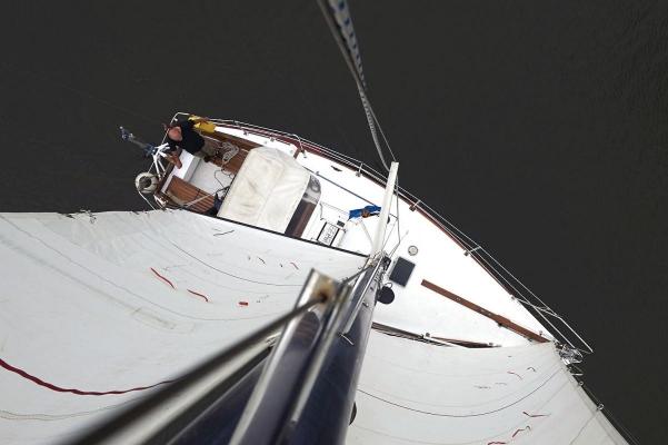 """Weltumseglerschiff """"Kiwitt"""", Kleve, Nebenarm Rhein"""