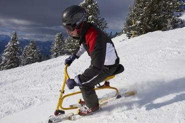 Snowbike, junger Mann mit Helm auf Snowbike, Piste, Schnee, Berge, verschneite Baeume, bei Rosenalm, Zillertalarena, Zillertal, Tirol, Oesterreich