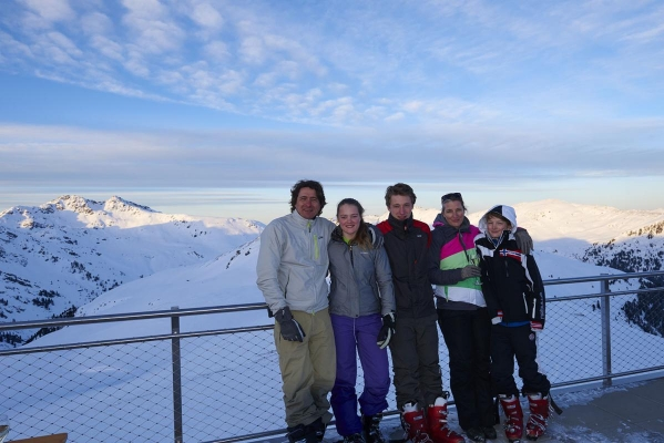 Berglandschaft, Bergpanorama, Terasse des Bergrestaurants Gipfeltreffen, Moonlight Skiing & Dinner, bei Koenigsleiten, Zillertal Arena, Zillertal, Tirol, Oesterreich