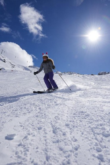 Skifahrer, Piste, Skipiste, Schnee, Winterferien, Skiferien, Gegenlicht, Maedchen, Zilletalarena, Zillertal, Tirol, Oesterreich